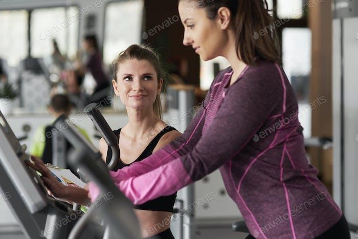 Coach training female athlete