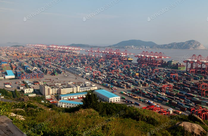 Yangshan Port of Shengsi in Shanghai in China