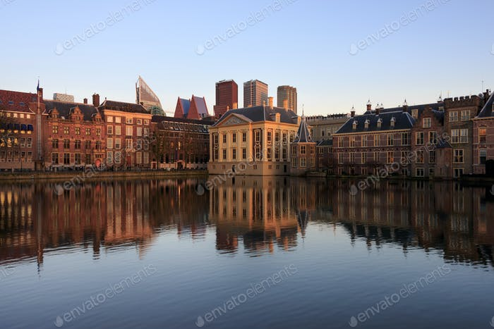 Skyline of the Hague with reflection in the lake