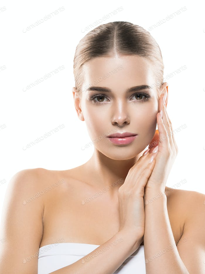 Woman healthy skin beautiful face happy people
