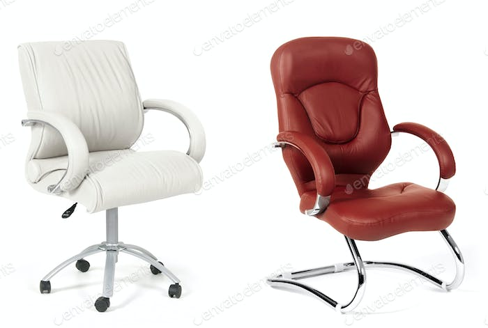 The office chairs from white and brown leather
