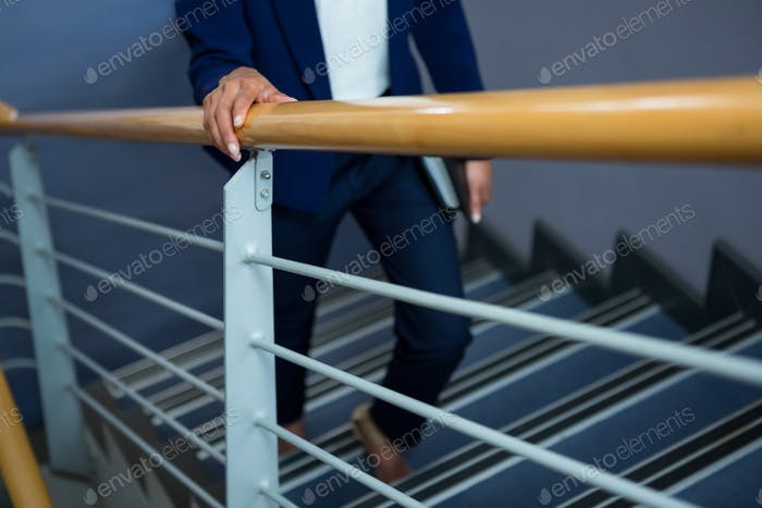 Businesswoman with diary climbing steps