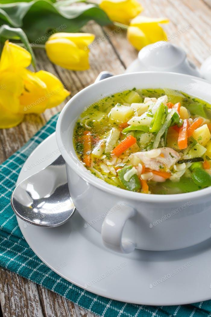 Fresh vegetable soup. Selective focus.