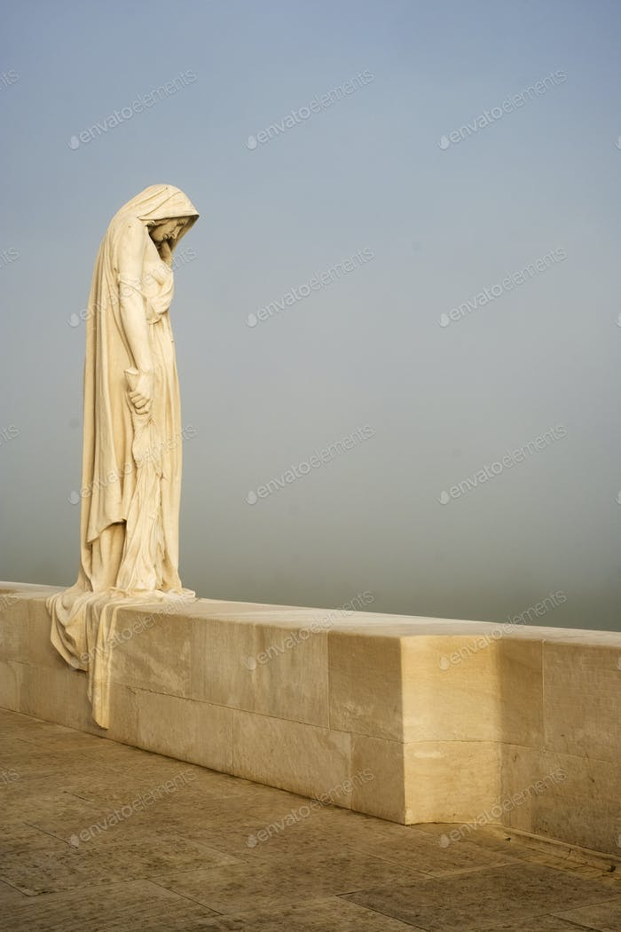 Mother Canada statue at the Canadian World War One Memorial, Vimy Ridge National Historic Site of