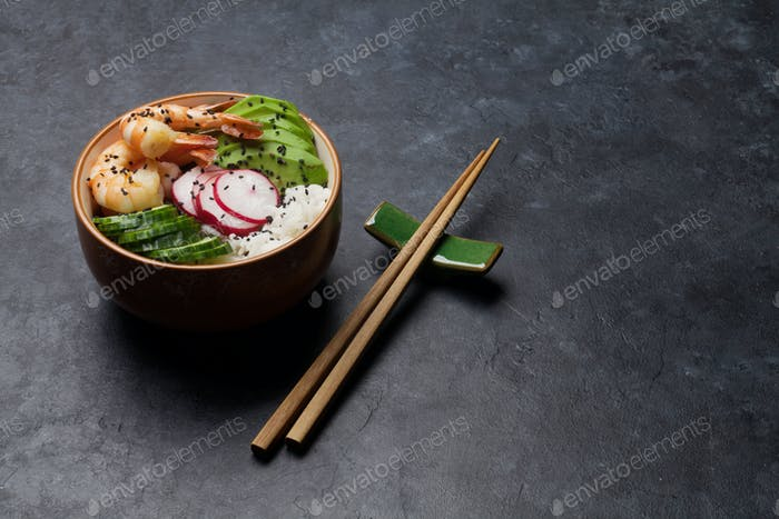 Thumbnail for Poke bowl with shrimps and vegetables