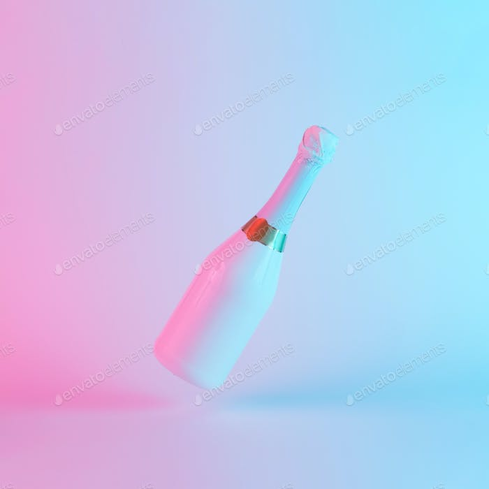 White champagne bottle with colorful ultraviolet holographic neon lights. Creative concept.