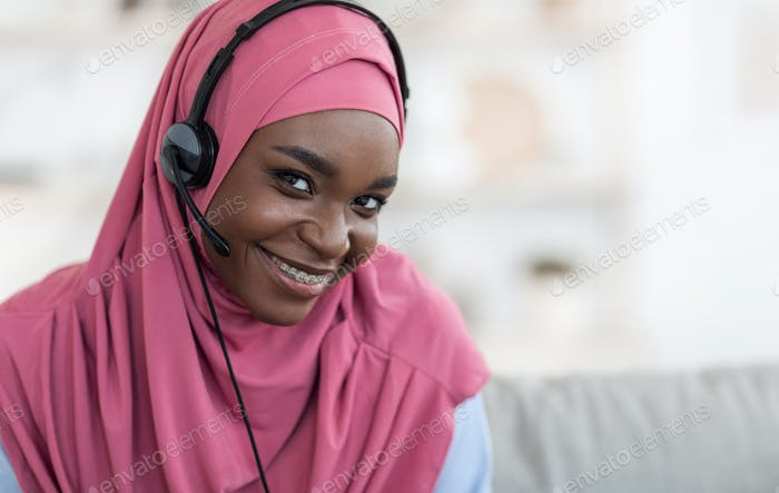 Muslim Remote Jobs. Closeup Of Black Islamic Lady In Hijab And Headset