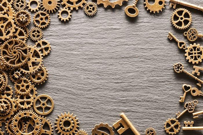 Various metal cogwheels, gear wheels and keys
