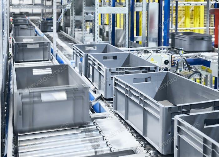 Modern box conveyor system.