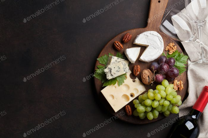 Wine, grape and cheese