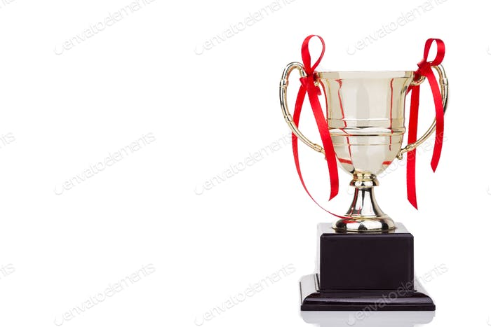 Gold trophy with red decorative ribbons on white background