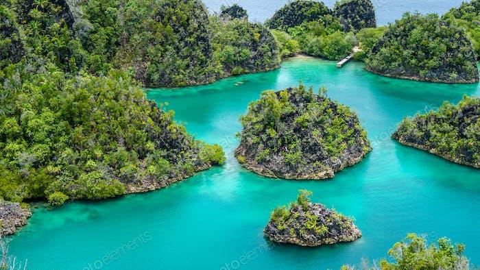 Gruppe von Painemo Insel umgeben von Blue Lagoon, Ozean, Raja Ampat, Westpapua, Indonesien