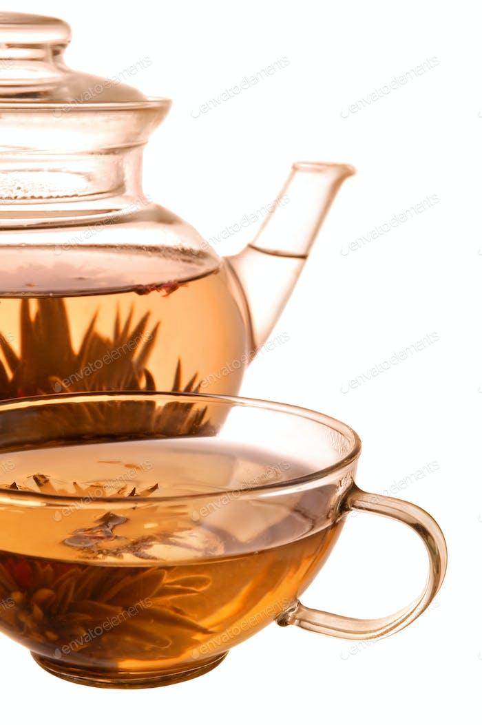 Teekanne und Tasse aus Glas