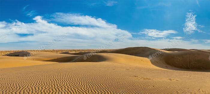 Panorama of dunes in Thar Desert, Rajasthan, India