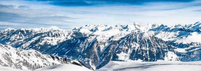view of the Alps mountains in Switzerland.  Winter Landscape. Pa