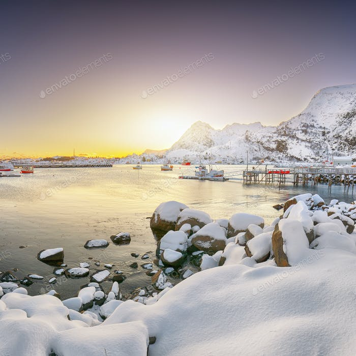 Amazing winter scenery of Moskenes village with ferryport