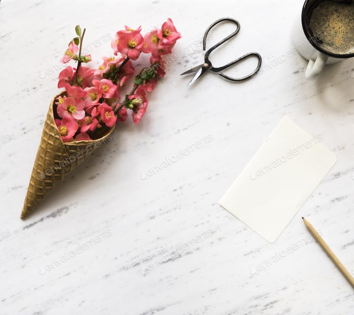 Flowers in ice cream cone on marble background