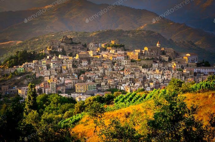 Scenic sunset view of Castiglione di Sicilia village, Sicily