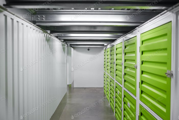 Modern warehouse with green storage rooms