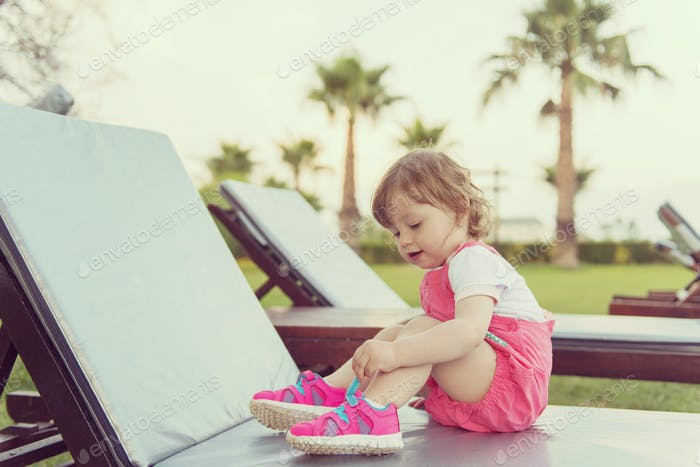 little cute girl enjoying summer vacations
