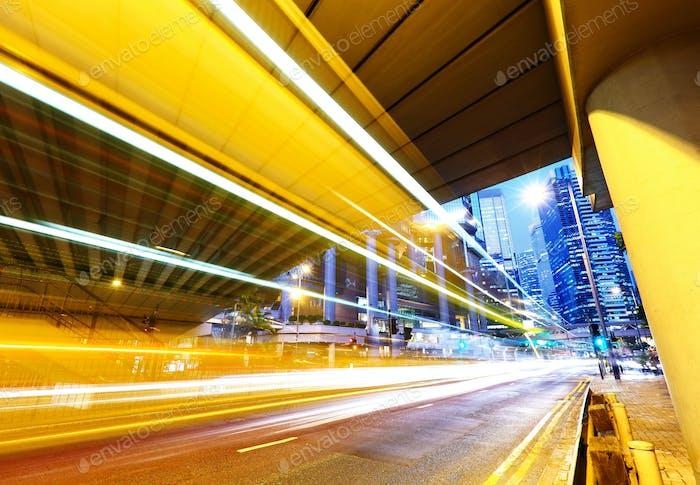 futuristic urban city night traffic