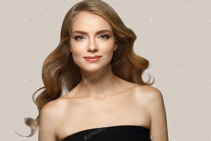 Blonde hair woman natural make up
