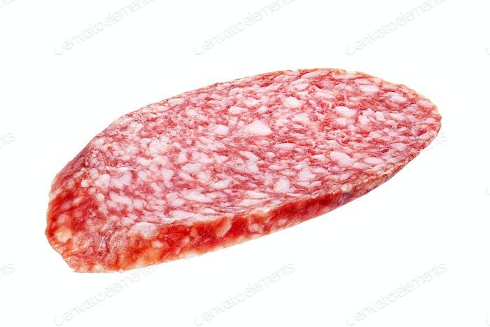 Salami sausage slice isolated