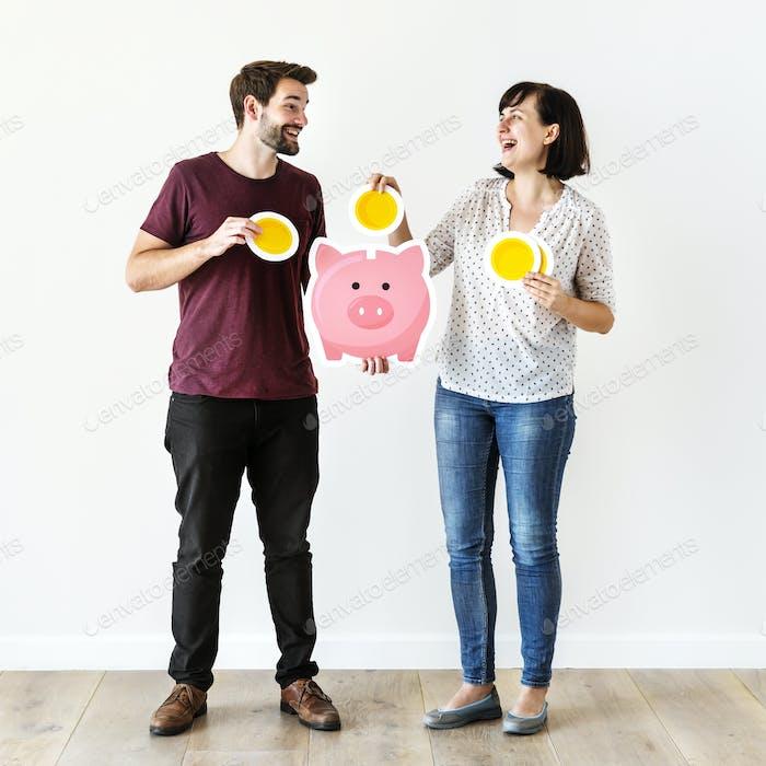 Menschen mit Sparkonzept