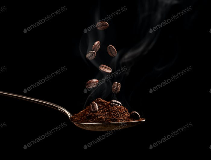 Steaming roasted coffee beans