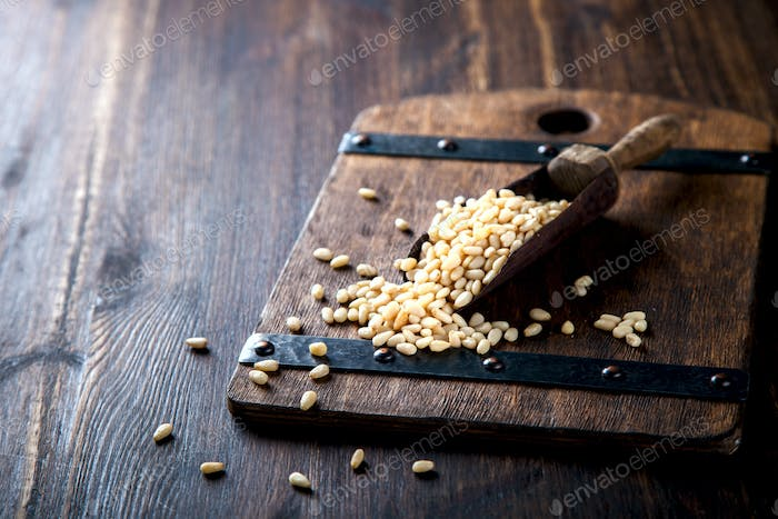 Pine Nut .Concept of Healthy Food.