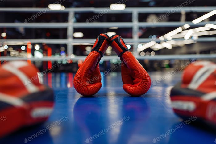 Pair of red boxing gloves and pads on ring, nobody