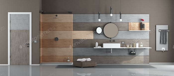 Modern bathroom with washbasin and shower