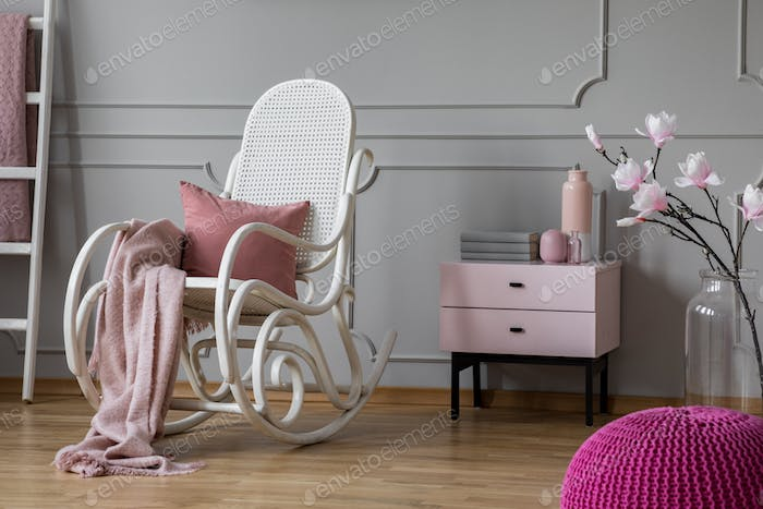 Pastel pink blanket and pillow
