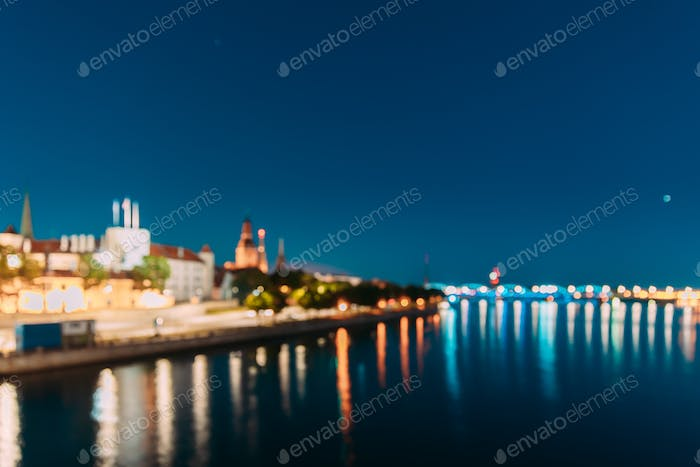 Riga, Latvia. Night Abstract Boke Bokeh Background Effect. Desig