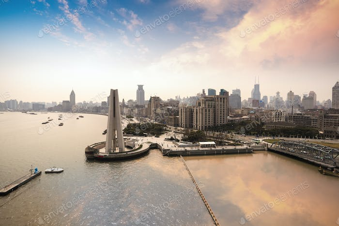 panoramic view of the bund in shanghai