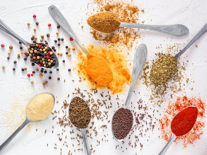 Food background indian spices on white