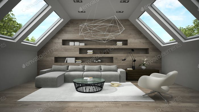 Interior of stylish mansard room 3D rendering 2