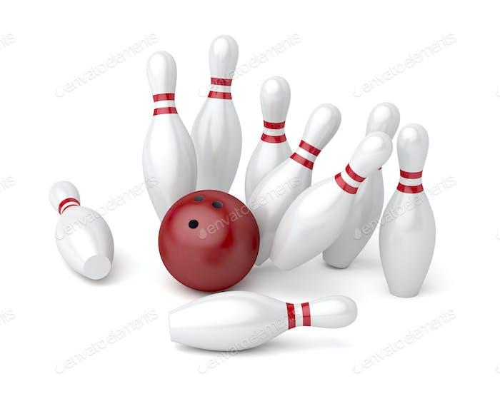 Bowling Ball stürzt in die Stifte
