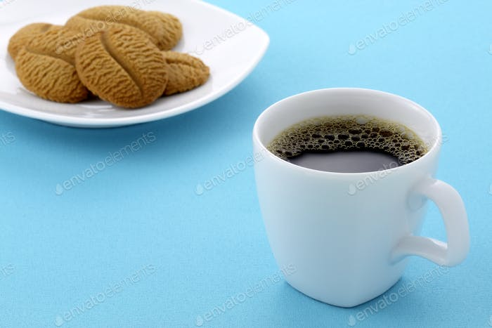 delicious coffee shortbreads and hot coffee