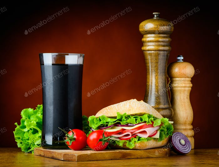 Burger Sandwich with Cola and Ingredients