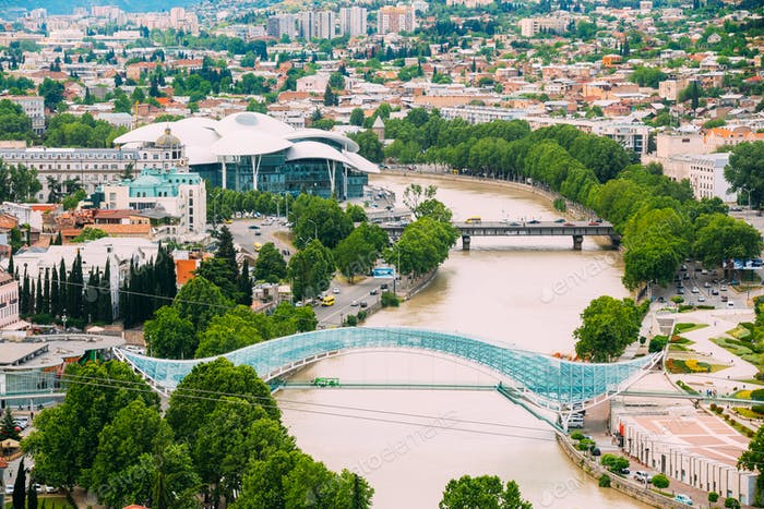 Top Cityspape View Of Kura Mtkvari River Under Bridge Of Peace,
