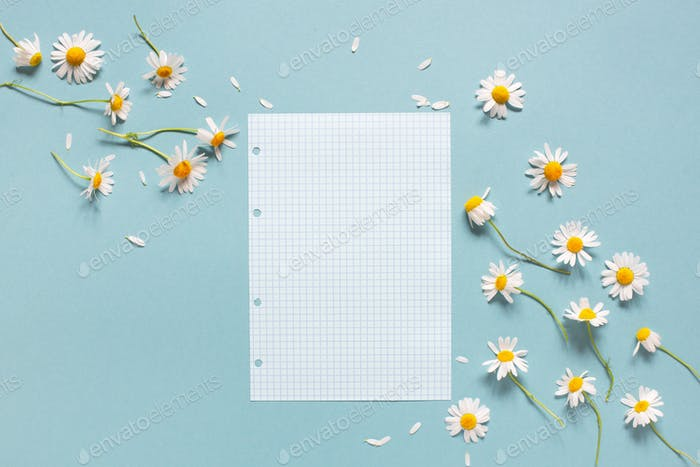 Blank Check Sheet and Daisies