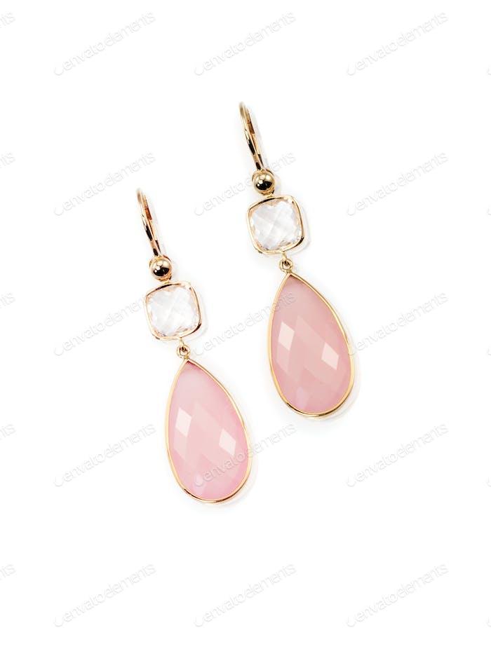 Pair of pink rose quarts dangle elegant earrings