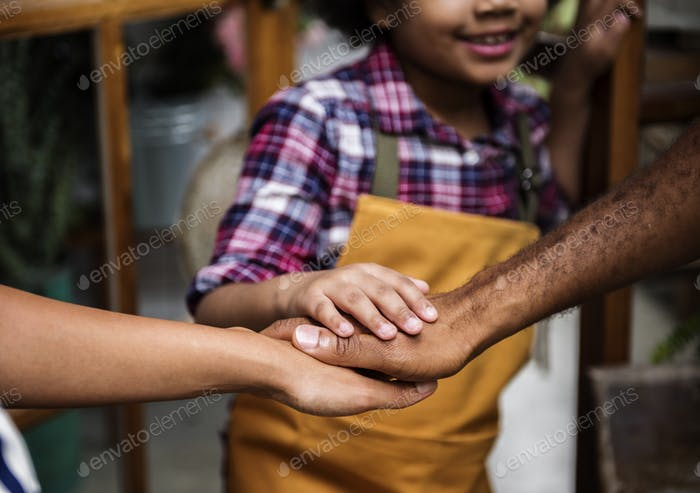 Family Hands Out Together Teamwork
