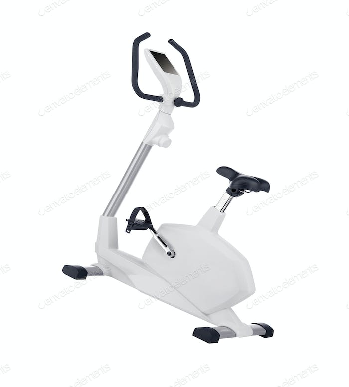 Stationary training bicycle isolated on white background