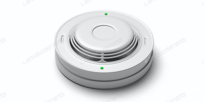 Smoke detector isolated against white background. Fire safety system. 3d illustration