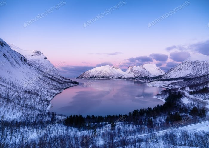 Senja island, Norway. Landscape at the night time