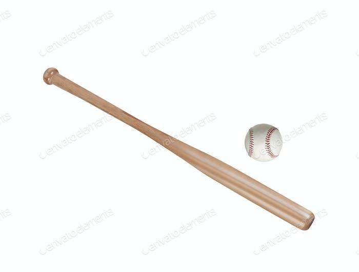 Baseball and baseball bat isolated on white background