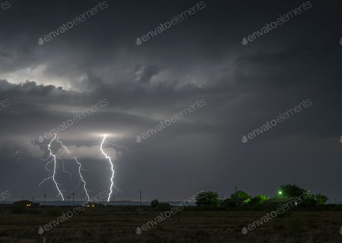 Large lightning strike at night on Tornado Alley
