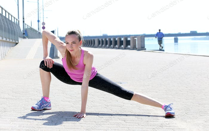 Sport. Attractive girl on the street